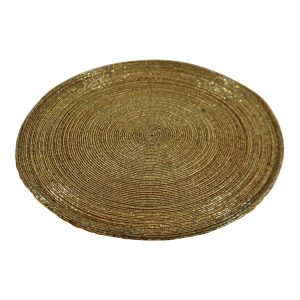 Gold Glass Beaded Round Set of 4 Placemats