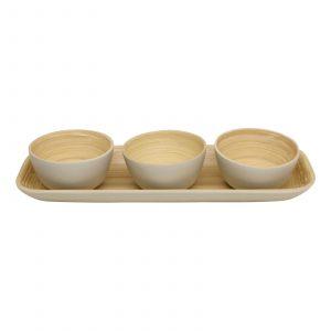 Natural Interiors Bamboo Set Of 3 Serving Bowls On Tray