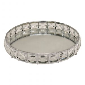 Small Mirrored Silver Tray With Bead Design