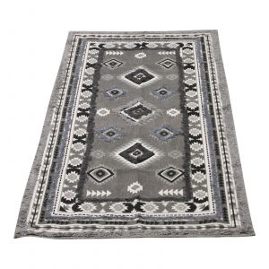 Large Grey Patterned and Tufted Rug